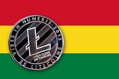 Litecoin da moeda na bandeira de Bolívia Fotografia de Stock Royalty Free