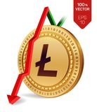 Litecoin Daling Rode pijl neer De classificatie van de Litecoinindex daalt op uitwisselingsmarkt Crypto munt 3D isometrische Fysi Royalty-vrije Stock Foto