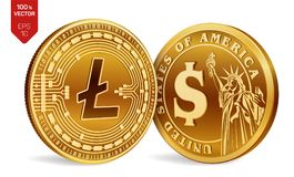 Litecoin. Dollar coin. 3D isometric Physical coins. Digital currency. Cryptocurrency. Golden coins with Litecoin and Dollar symbol. Isolated on white background Stock Images
