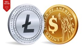 Litecoin. Dollar coin. 3D isometric Physical coins. Digital currency. Cryptocurrency. Golden and silver coins with Litecoin and Do. Llar symbol isolated on white Stock Photography