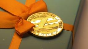 Litecoin dourado coloca e brilha no macro próximo claro da curva filme