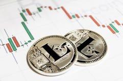 Litecoin is een moderne manier van uitwisseling en deze crypto munt royalty-vrije stock foto
