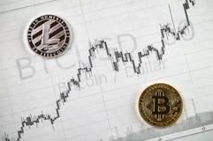 Litecoin et changements de cryptographie de bitcoin photographie stock libre de droits