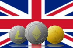 Litecoin Ethereum Bitcoin cryptocurrency with UNITED KINGDOM flag on background.  Stock Images