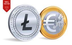 Litecoin Euro isometrische körperliche Münzen 3D Digital-Währung Cryptocurrency Goldene und Silbermünzen mit Litecoin und Euro-sy Lizenzfreie Stockfotos