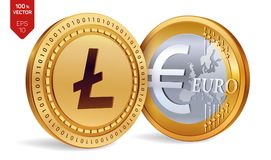 Litecoin Euro- moedas 3D físicas isométricas Moeda de Digitas Cryptocurrency Moedas douradas com símbolo de Litecoin e de Euro is Fotografia de Stock Royalty Free