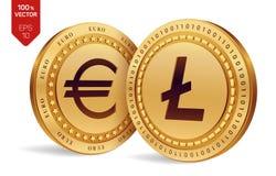 Litecoin Euro pièce de monnaie pièces de monnaie 3D physiques isométriques Devise de Digital Cryptocurrency Pièces de monnaie d'o Photographie stock
