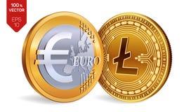 Litecoin Euro pièce de monnaie pièces de monnaie 3D physiques isométriques Devise de Digital Cryptocurrency Pièces de monnaie d'o Illustration Libre de Droits