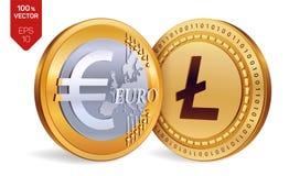 Litecoin Euro pièces de monnaie 3D physiques isométriques Devise de Digital Cryptocurrency Pièces de monnaie d'or avec Litecoin e Image stock