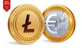 Litecoin Euro pièces de monnaie 3D physiques isométriques Devise de Digital Cryptocurrency Pièces de monnaie d'or avec Litecoin e Illustration Libre de Droits