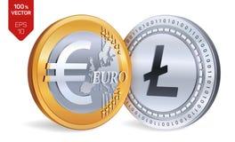 Litecoin Euro pièces de monnaie 3D physiques isométriques Devise de Digital Cryptocurrency Pièces d'or et en argent avec Litecoin Photo libre de droits
