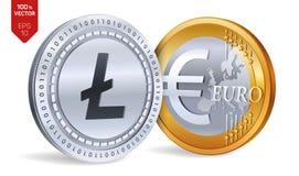 Litecoin Euro pièces de monnaie 3D physiques isométriques Devise de Digital Cryptocurrency Pièces d'or et en argent avec Litecoin Photo stock