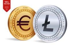 Litecoin Euro violento a metà contro vecchia priorità bassa monete fisiche isometriche 3D Valuta di Digital Cryptocurrency Monete Immagine Stock