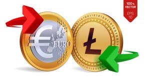 Litecoin Euro wymiana walut Litecoin menniczy euro Cryptocurrency Złote monety z Litecoin i Euro symbol z zielenią i Obrazy Royalty Free