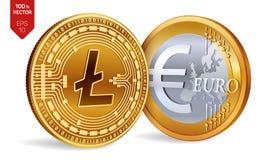 Litecoin Euro zerrissen zur Hälfte gegen alten Hintergrund isometrische körperliche Münzen 3D Digital-Währung Cryptocurrency Gold lizenzfreie abbildung