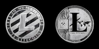 LiteCoin framdel och baksida Arkivfoton