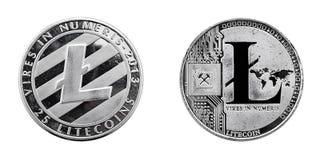LiteCoin framdel och baksida Royaltyfria Bilder