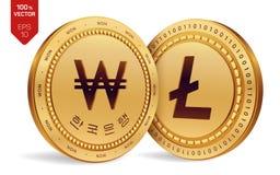 Litecoin gewonnen isometrische körperliche Münzen 3D Digital-Währung Korea gewann Münze Cryptocurrency Goldene Münzen mit Litecoi stock abbildung
