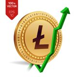 Litecoin. Growth. Green arrow up. Litecoin index rating go up on exchange market. Crypto currency. 3D isometric Physical Golden co. In isolated on white Royalty Free Stock Images
