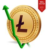 Litecoin. Growth. Green arrow up. Litecoin index rating go up on exchange market. Crypto currency. 3D isometric Physical Golden co. In isolated on white Stock Photography