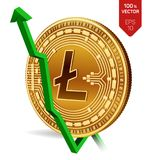 Litecoin. Growth. Green arrow up. Litecoin index rating go up on exchange market. Crypto currency. 3D isometric Physical Golden co. In isolated on white Stock Photos