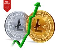 Litecoin. Growth. Green arrow up. Litecoin index rating go up on exchange market. Crypto currency. 3D isometric Physical. Golden and silver coins isolated on Stock Photos