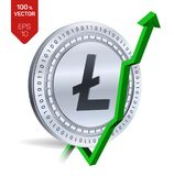 Litecoin. Growth. Green arrow up. Litecoin index rating go up on exchange market. Crypto currency. 3D isometric Physical Silver co. In  on white background Stock Images