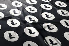 Litecoin LTC cryptocurrency 3d att framföra flaggan stock illustrationer