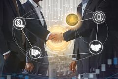 Litecoin LTC and Cryptocurrency Payment Accept. Ance concept - Businessman handshaking showing accepted payment by using Litecoin coin. Blockchain and financial royalty free stock photo