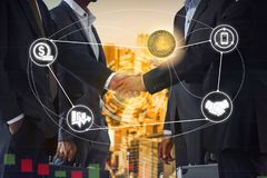 Litecoin LTC and Cryptocurrency Payment Accept. Ance concept - Businessman handshaking showing accepted payment by using Litecoin coin. Blockchain and financial stock photo