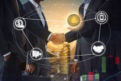 Litecoin LTC and Cryptocurrency Payment Accept. Ance concept - Businessman handshaking showing accepted payment by using Litecoin coin. Blockchain and financial royalty free stock photography