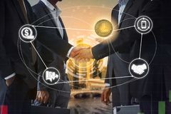 Litecoin LTC and Cryptocurrency Payment Accept. Ance concept - Businessman handshaking showing accepted payment by using Litecoin coin. Blockchain and financial stock image