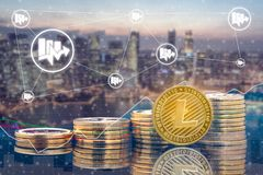 Litecoin LTC e conceito da troca de Cryptocurrency fotos de stock