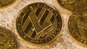 Litecoin Model Belongs to Alternative Monetary Units Macro. Macro glittering metal litecoin model belongs to alternative monetary units variant against tiny stock video footage