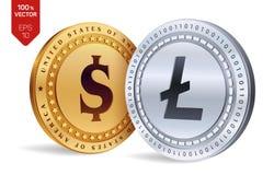 Litecoin Moneta del dollaro monete fisiche isometriche 3D Valuta di Digital Cryptocurrency Le monete dorate e d'argento con Litec Immagine Stock Libera da Diritti