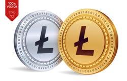 Litecoin pièces de monnaie 3D physiques isométriques Devise de Digital Cryptocurrency Pièces d'or et en argent avec le symbole de Images libres de droits
