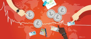 Litecoin price value market going down decrease chart crash Royalty Free Stock Photography