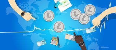 Litecoin price value market rally going up increase chart Stock Photo