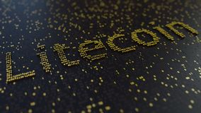 Litecoin słowo robić ruszać się złote liczby Cryptocurrency transakcje lub kopalnictwo odnosić sie konceptualną animację zbiory wideo