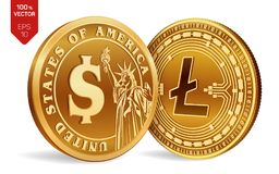Litecoin Schöne vektorabbildung isometrische körperliche Münzen 3D Digital-Währung Cryptocurrency Goldene Münzen mit Symbol Litec lizenzfreie abbildung
