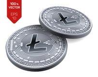 Litecoin Schlüsselwährung isometrische körperliche Münzen 3D Digital-Währung Silbermünzen mit Litecoin-Symbol lokalisiert auf Wei lizenzfreie abbildung