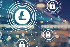 Litecoin security theme with blurred city lights royalty free illustration