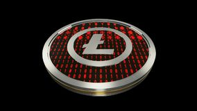 Litecoin symbol, close up view of silver cryptocurrency coin with binary code on black background, bottom view, 3D rendering. Litecoin symbol, close up view of Royalty Free Stock Photos