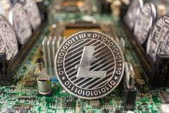 Litecoin on a technology circuit stock photos