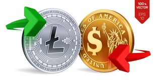 Litecoin to dollar currency exchange. Litecoin. Dollar coin. Cryptocurrency. Golden and silver coins with Litecoin and Dollar stock illustration