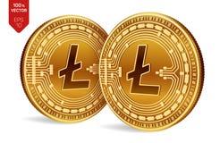 Litecoin Valuta cripto monete fisiche isometriche 3D Valuta di Digital Monete dorate con il simbolo di Litecoin isolate sopra Fotografia Stock