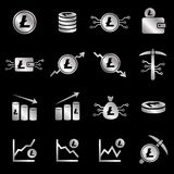 Litecoin vector icon collection. Collection of 16 vector isolated cryptocurrency litecoin elements in silver design on black background. Ideal for company logo Royalty Free Stock Image