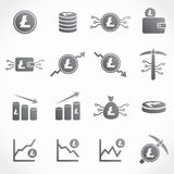 Litecoin vector icon collection. Collection of 16 vector isolated cryptocurrency litecoin elements in silver design on white background. Ideal for company logo Stock Photo