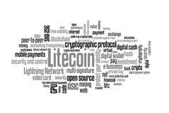 Litecoin word cloud Stock Photos