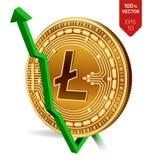 Litecoin wzrost zieleń strzała zieleń Litecoin wskaźnika ocena iść up na wekslowym rynku Crypto waluta 3D isometric Fizyczny Złot ilustracji